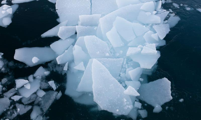 Global warming has driven the loss of about three-quarters of the northern ice c