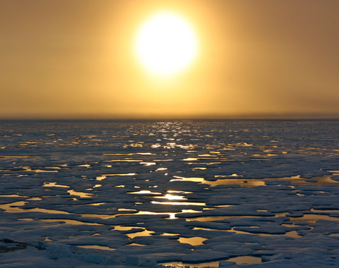 Melting arctic ice in the sunset-Photo credit:NASA Goddard Space Flight Center